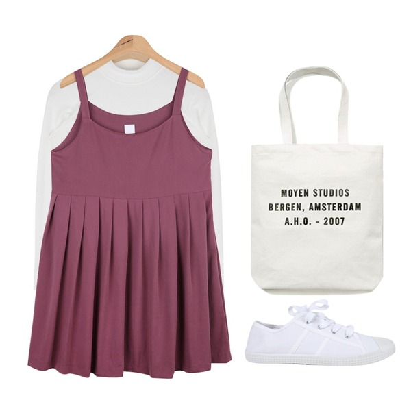 AIN walking daily sneakers (3 colors),AIN doll pleats midi ops (2 colors) 입고지연,AIN slim crew half-neck T (5 colors)등을 매치한 코디