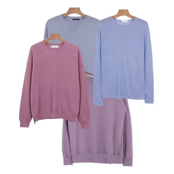 daily monday Creamy colors knit,daily monday Linen long sleeve tee,MIXXMIX 컬러 스웨트 셔츠등을 매치한 코디