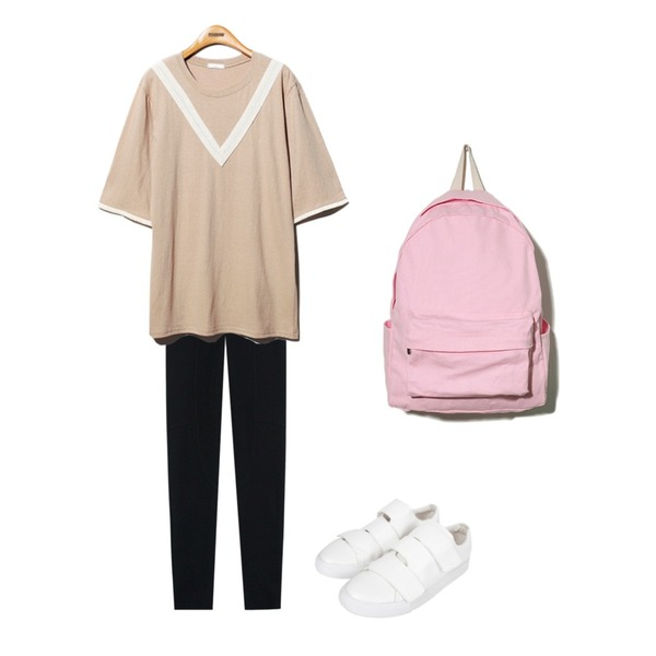 TODAY ME [leggings]하이 심플 A팬츠,Reine V_Lace Trimming Onepiece,AIN velcro sneakers (2 colors)등을 매치한 코디