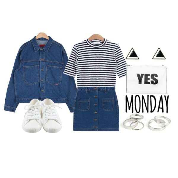 Typo_monday,Pebble muji 5 finger ring SET (5ea) _ silver,AIN vintage outfit denim jacket (2 colors)등을 매치한 코디
