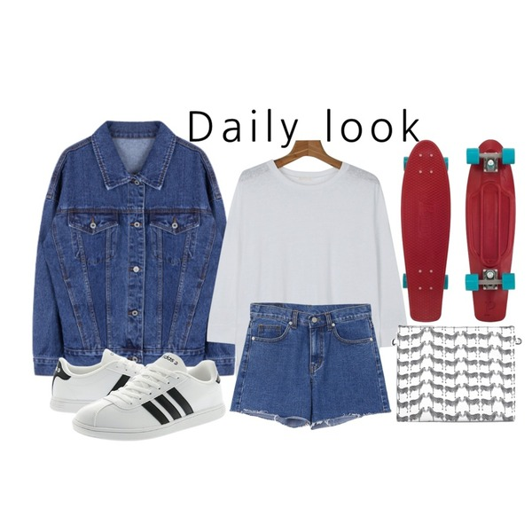Red Cruiser Board,daily monday Solid linen slit tee,MIXXMIX 11 데님 자켓등을 매치한 코디
