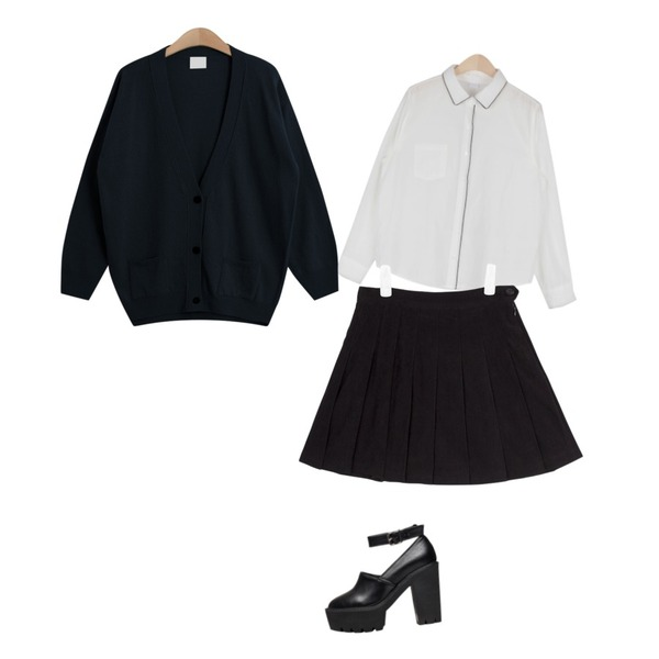AIN line detail shirt (2 colors),AIN suede tennis skirt (3 colors),TODAY ME [cardigan]조아 가디건등을 매치한 코디