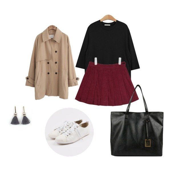 TODAY ME [tee]모나 티,common unique  MELTED TRENCH COAT,AIN suede tennis skirt (3 colors)등을 매치한 코디