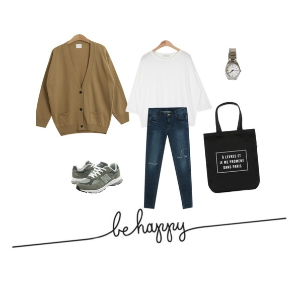 be happy,AIN easy cotton 9 T (4 colors),TODAY ME [cardigan]조아 가디건등을 매치한 코디