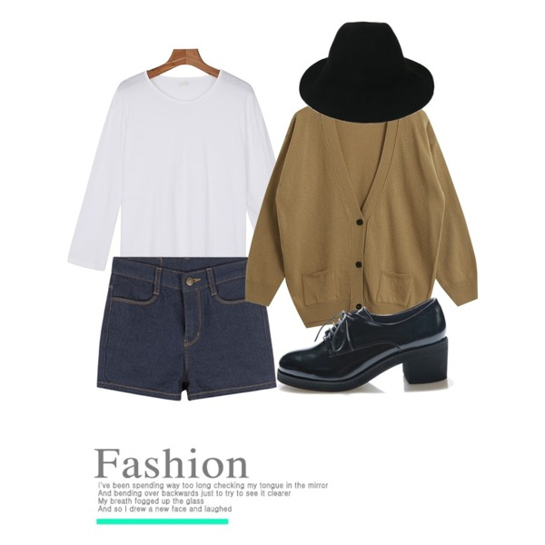 daily monday Casual easy color tee,MIXXMIX 036 데일리 숏츠,TODAY ME [cardigan]조아 가디건등을 매치한 코디