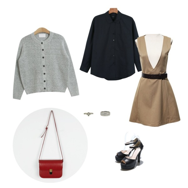 Reine High Open Heel,Reine Once Belted Onepiece Set,daily monday Daily v-open shirts등을 매치한 코디
