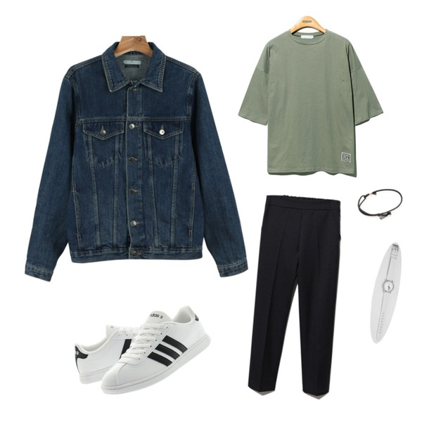 Reine Special Number Cotton Tee,Reine Holic Banding Pants   ,daily monday Street denim jacket등을 매치한 코디