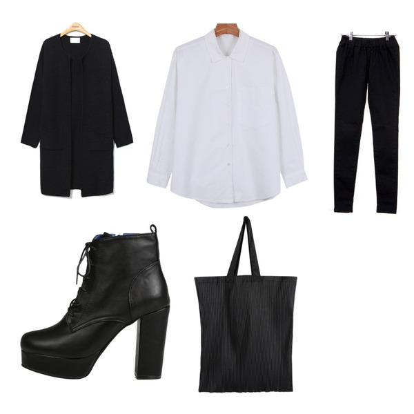 Reine Monopolice Loose Fit Long Cardigan ,Zemma World 네버밴드 (skinny),daily monday Daily v-open shirts등을 매치한 코디