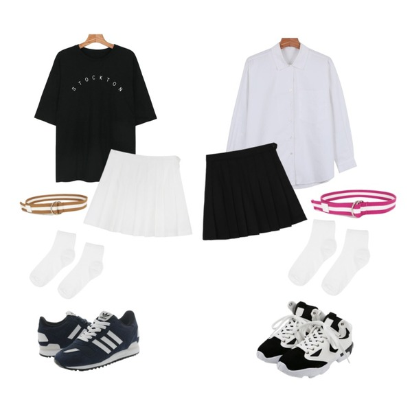 daily monday Tennis pants skirt,daily monday Loose fit cozy lettering tee,daily monday Daily v-open shirts등을 매치한 코디