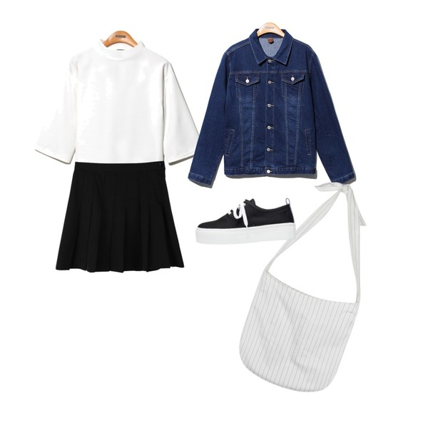 daily monday Other color AA tennis skirt[테니스스커트,주름스커트,플리츠스커트,스커트,치마],Reine Waffle Half Neck Crop Tee,Reine Focus Loose Fit Denim Jacket 등을 매치한 코디