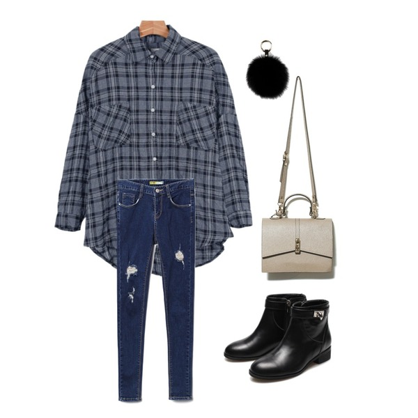 Reine Rimera Ankle Boots,daily monday Natural cotton check shirt,Reine Freedom Destroyed Skinny 등을 매치한 코디