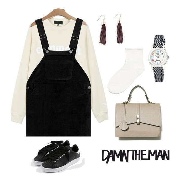 daily monday Round cushion sneakers,TODAY ME [skirt]메이프 멜빵 스커트,daily monday Comment printing  man to man등을 매치한 코디