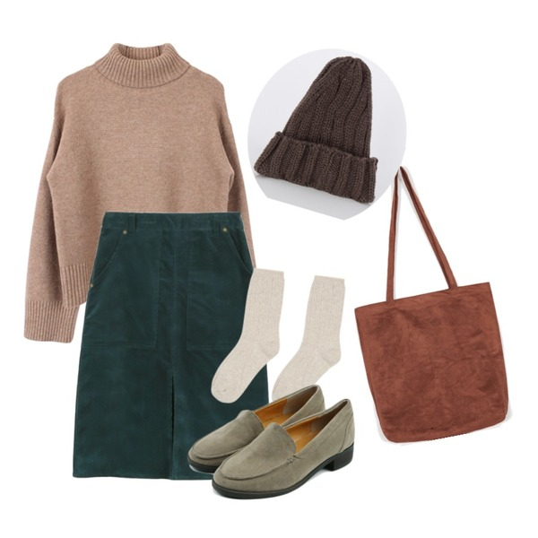 biznshoe Basic wool turtle-neck (3color),MIXXMIX 스크류 크릭 삭스,daily monday Corduroy midi skirts등을 매치한 코디