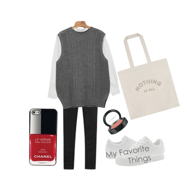 daily monday Cable knit vest,MIXXMIX 610 데일리 데님 팬츠,daily monday Basic pocket shirts등을 매치한 코디