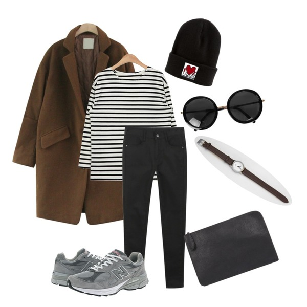 daily monday Black white skinny,TODAY ME [coat]허쉬 코트,AIN simple daily stripe cotton T (4 colors)등을 매치한 코디