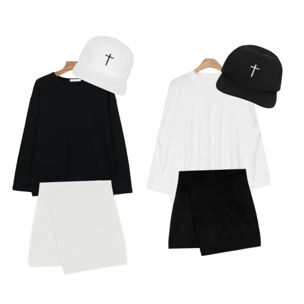 MIXXMIX 브닝 언발 스커트,daily monday Round color base tee,AIN side vent daily T (4 colors)등을 매치한 코디