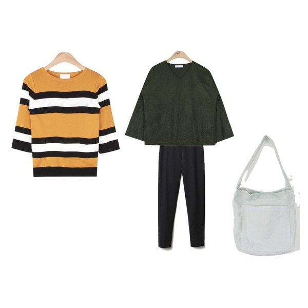 daily monday All day cotton bag,AIN suede smooth V-neck bl T (3 colors),Reine Easy Banding Slacks등을 매치한 코디