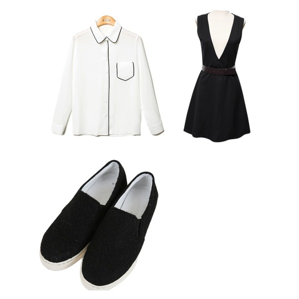 Reine Once Belted Onepiece Set,Reine Oopening Piping Blouse,Zemma World 몽글몽글 (shoes)등을 매치한 코디