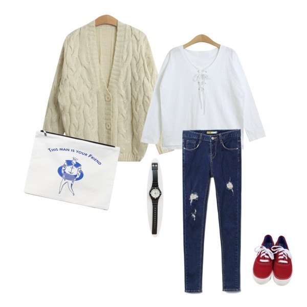 Reine Another You Thing Clutch Bag,daily monday All day basic sneakers,TODAY ME [cardigan]미우 가디건등을 매치한 코디