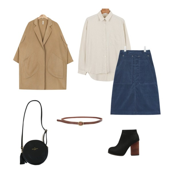 """AIN hand-made wool over coat (2 colors)""""weekly 20% item"""" ,daily monday Swing stripe shirts,AIN corduroy middle warm skirt (3 colors) 등을 매치한 코디"""