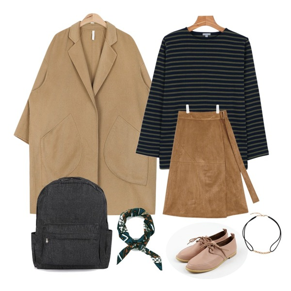 "AIN suede manish wrap skirt (2 colors),daily monday Another color stripe tee,AIN hand-made wool over coat (2 colors)""weekly 20% item"" 등을 매치한 코디"