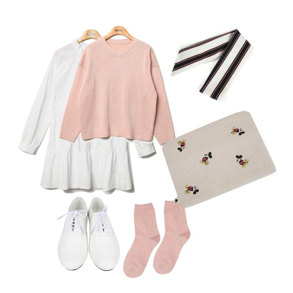 AIN dancing loafer (2 colors),Reine Marni V-Neck Knit,Reine Purity Shirring Collar Onepiece 등을 매치한 코디