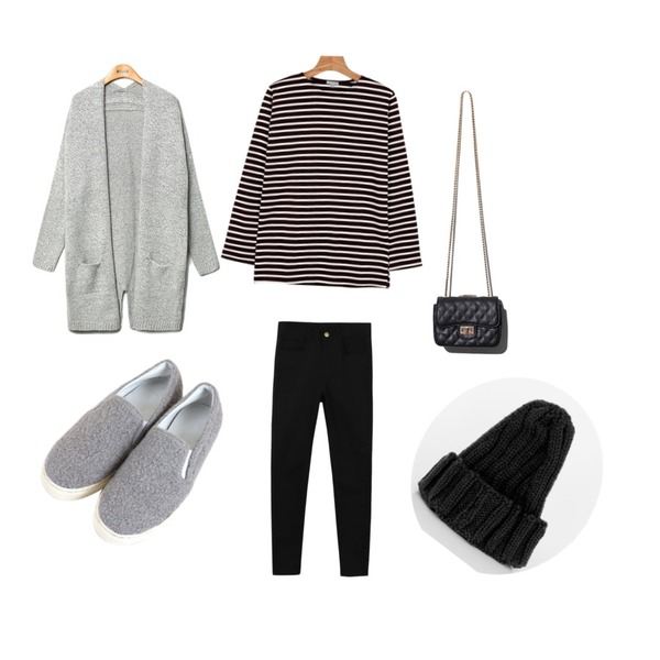 daily monday Basic cotton color skinny,daily monday Another color stripe tee,Zemma World 몽글몽글 (shoes)등을 매치한 코디