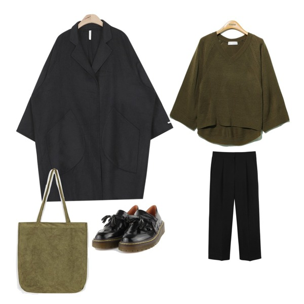 """daily monday Daily autumn color slacks,Reine Real V-Neck Knit Tee ,AIN hand-made wool over coat (2 colors)""""weekly 20% item"""" 등을 매치한 코디"""