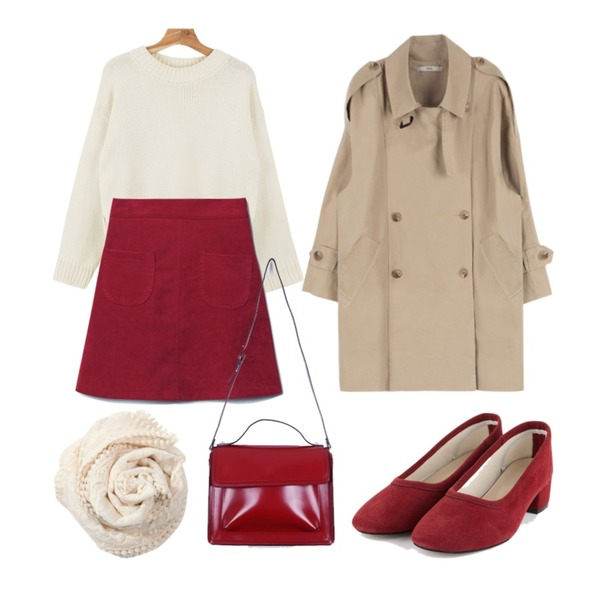 MIXXMIX HASNatural trench coat런칭기념 10% 할인,Reine Promise Corduroy Skirt  ,daily monday Loose fit slit knit등을 매치한 코디