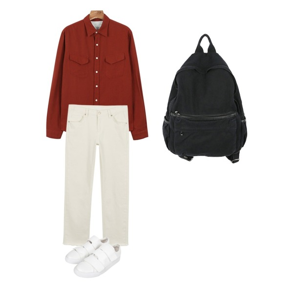 AIN velcro sneakers (2 colors),daily monday Color pocket shirt,daily monday Casual straight cotton pants등을 매치한 코디
