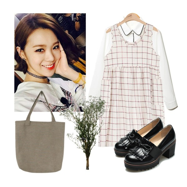 lizzy,AIN girlish check two pocket ops (2 colors),Reine Oopening Piping Blouse등을 매치한 코디