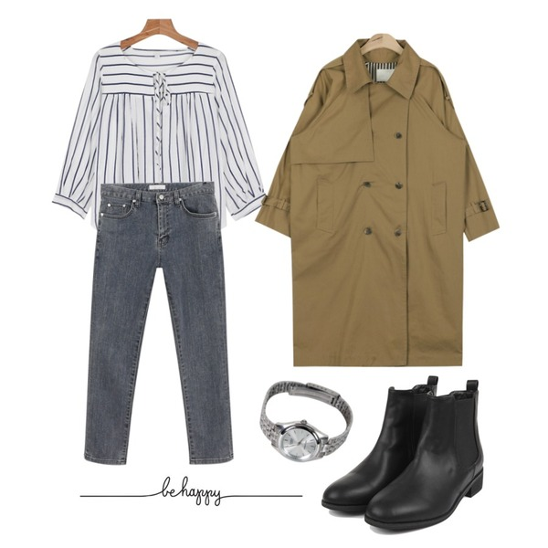 daily monday Stripe shirring blouse7/30 입고예정,AIN loose-fit london bby coat (2 colors),daily monday Gray straight pants등을 매치한 코디