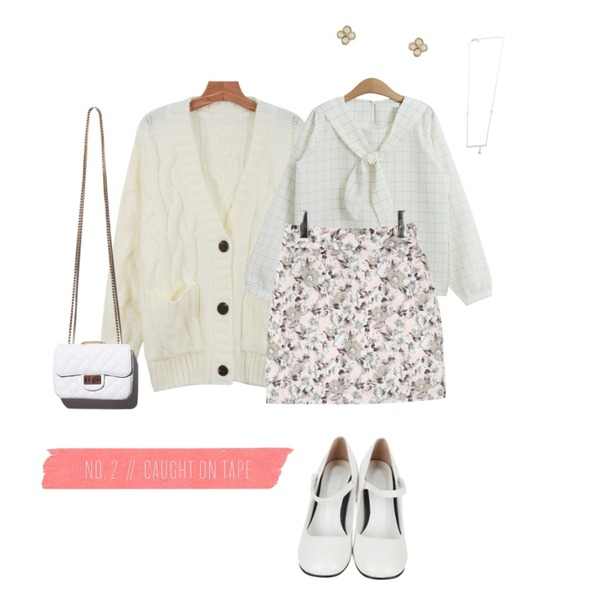 AIN spring flower pattern skirt (2 colors),daily monday Loose-fit knit cardigan,TODAY ME [blouses]비앤 블라우스등을 매치한 코디