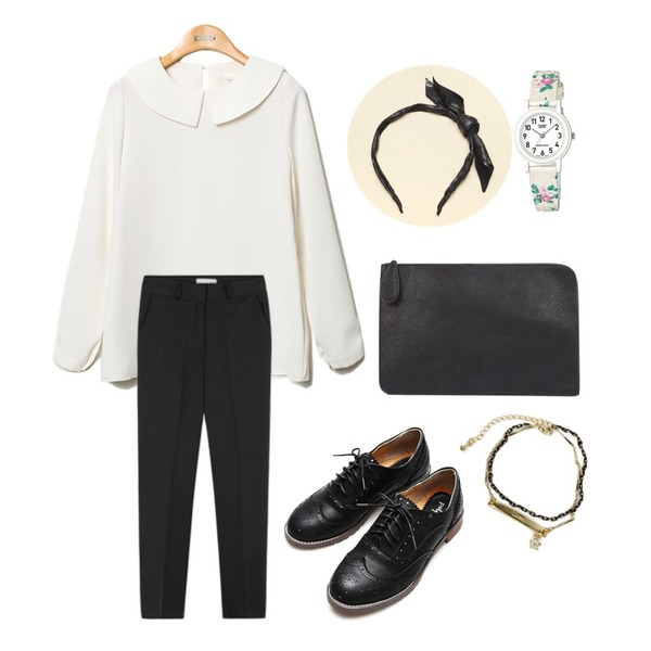 Reine Purity Peter Pan Collar Blouse,Reine Imperial Oxford Shoes      ,MIXXMIX 코르 베이직 슬랙스등을 매치한 코디