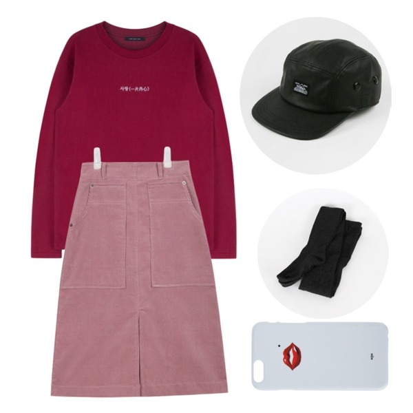 MIXXMIX HIDE AND SEEK사랑(一片丹心)30일 입고예정,AIN corduroy middle warm skirt (3 colors) ,daily monday Leather camp cap등을 매치한 코디
