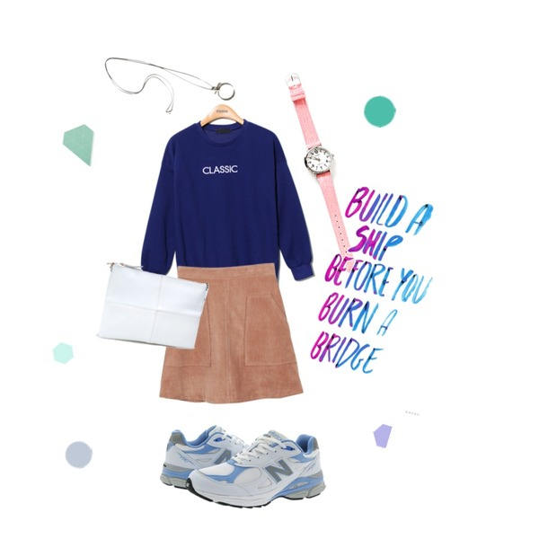 daily monday Casio two-color denim watch,Reine Classic Comfortable Sweat Shirts,daily monday A-line corduroy skirt10/8 입고예정등을 매치한 코디