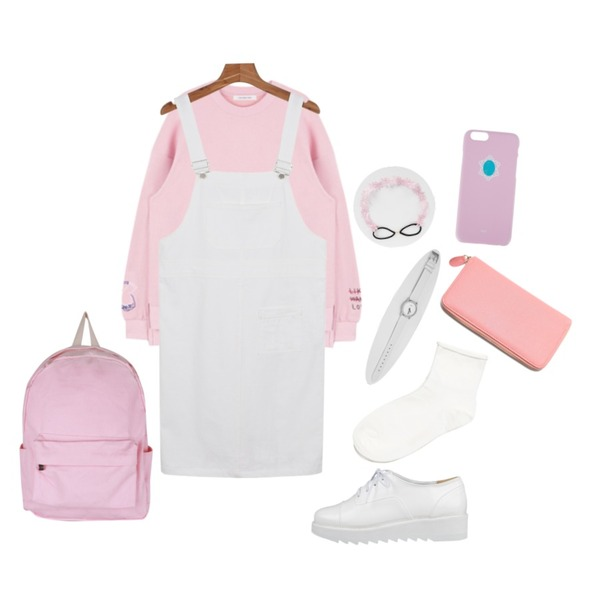daily monday Pocket suspender one-piece,AIN apparel color backpack (4 colors),MIXXMIX HIDE AND SEEK테이크 핸즈 스웨트 셔츠그레이 8일, 핑크 12일 입고 예정등을 매치한 코디