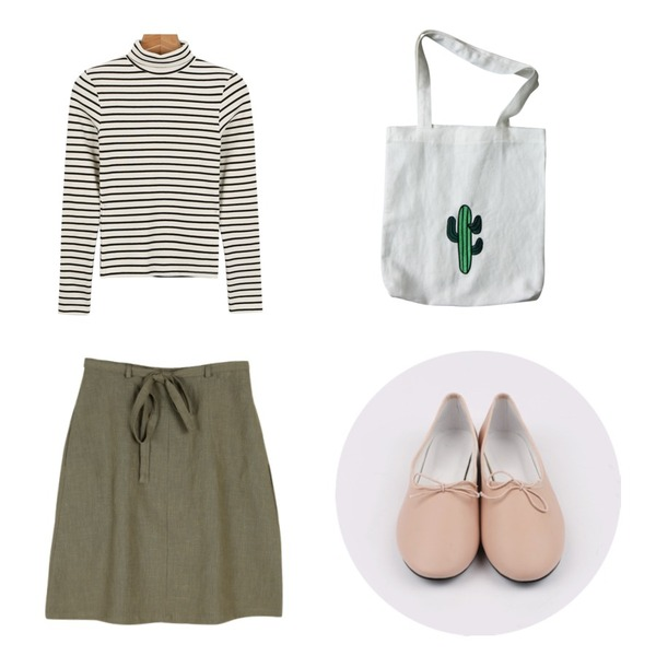 daily monday Ribbon string flat shoes,common unique [SKIRT] LINEN WLAP SKIRT,daily monday Tight stripe pola tee등을 매치한 코디