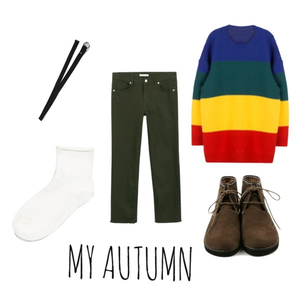 MIXXMIX 루오 레인보우 니트,daily monday Round Suede shoes,daily monday Casual straight cotton pants등을 매치한 코디