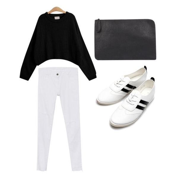 daily monday Natural cut cotton skinny,AIN modern daily various clutch (3 colors),TODAY ME [knit]컴투 니트등을 매치한 코디