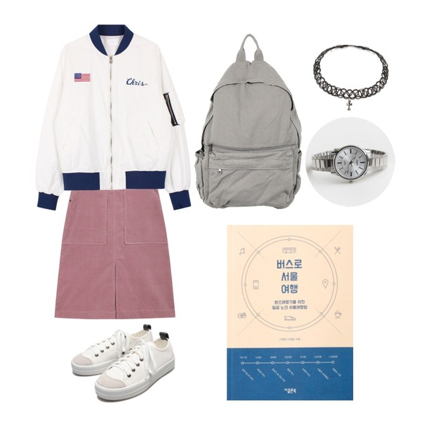 daily monday Casio silver frame watch,biznshoe Snoopy jumper (2color),AIN corduroy middle warm skirt (3 colors) 등을 매치한 코디