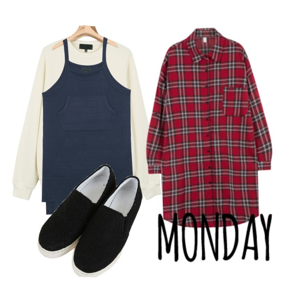 MIXXMIX 이프 체크 롱 셔츠 ,AIN pocket point knit dress (2 colors),daily monday Comment printing  man to man등을 매치한 코디