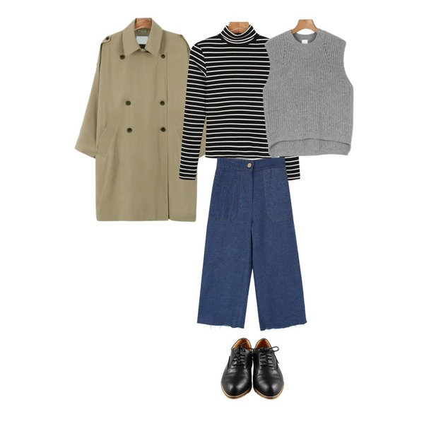 daily monday Epilogue solid loafer[로퍼,신발,슈즈,매니시],daily monday Soft loose fit trench coat,daily monday Tight stripe pola tee등을 매치한 코디