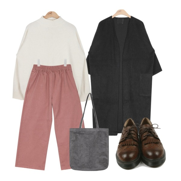 AIN magaret quality half-neck knit (3 colors),AIN warm touch wide cutting pants (3 colors),AIN boxy fit thick cardigan (4 colors)등을 매치한 코디