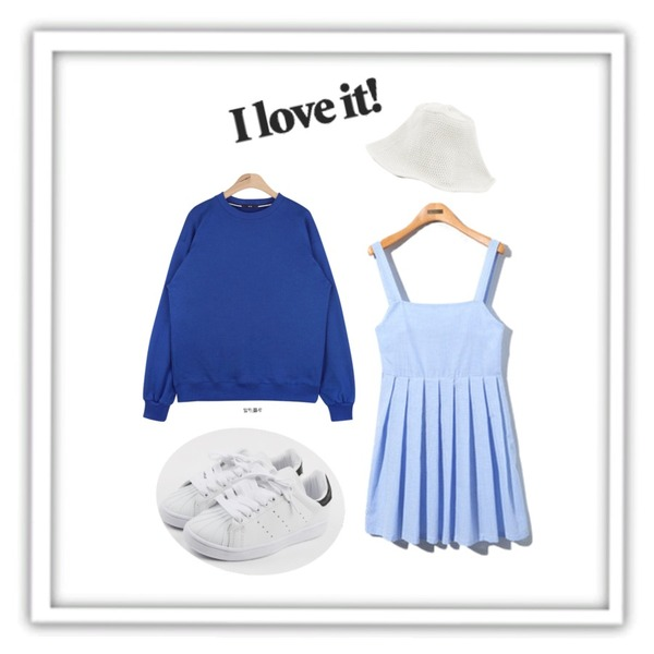 "Reine Someday Gingham Check Onepiece ,AIN "" FRESH A "" unisex mtm - cobalt blue,daily monday Round cushion sneakers등을 매치한 코디"