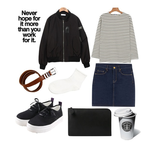 Zemma World chic leather belt,common unique  USS BOMBER JUMPER,daily monday Another color stripe tee등을 매치한 코디