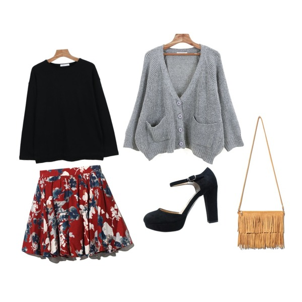 Reine Movie Flower Banding Skirt,Zemma World 호두라떼 (cardigan),daily monday Round color base tee등을 매치한 코디