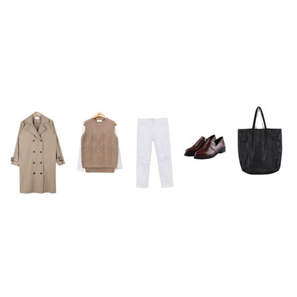 AIN fall lady trench coat (3 colors),Reine Soft Hand Knit Vest,daily monday Pocket button shirt등을 매치한 코디