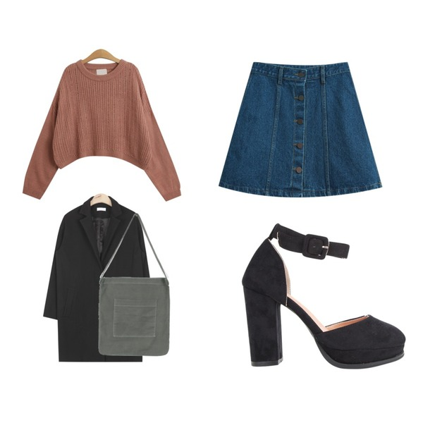 TODAY ME [skirt]루니 데님스커트,TODAY ME [knit]컴투 니트,AIN acne classic modern jacket (2colors)등을 매치한 코디