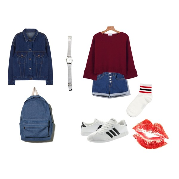 red lip,Reine Trendy Style Shorts Pants,Reine Coming  Backpack등을 매치한 코디